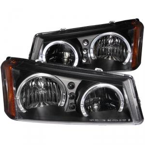Anzo 111212 Black Crystal Headlights With LED Halo