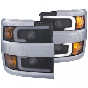 Anzo 111365 Black & Chrome Plank Style Switchback Projector Headlights