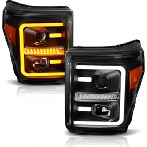 Anzo 111406 Black Plank Style Switchback Projector Headlights