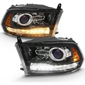 Anzo 111439 Black Plank Style Switchback Projector Headlights W/ Halo