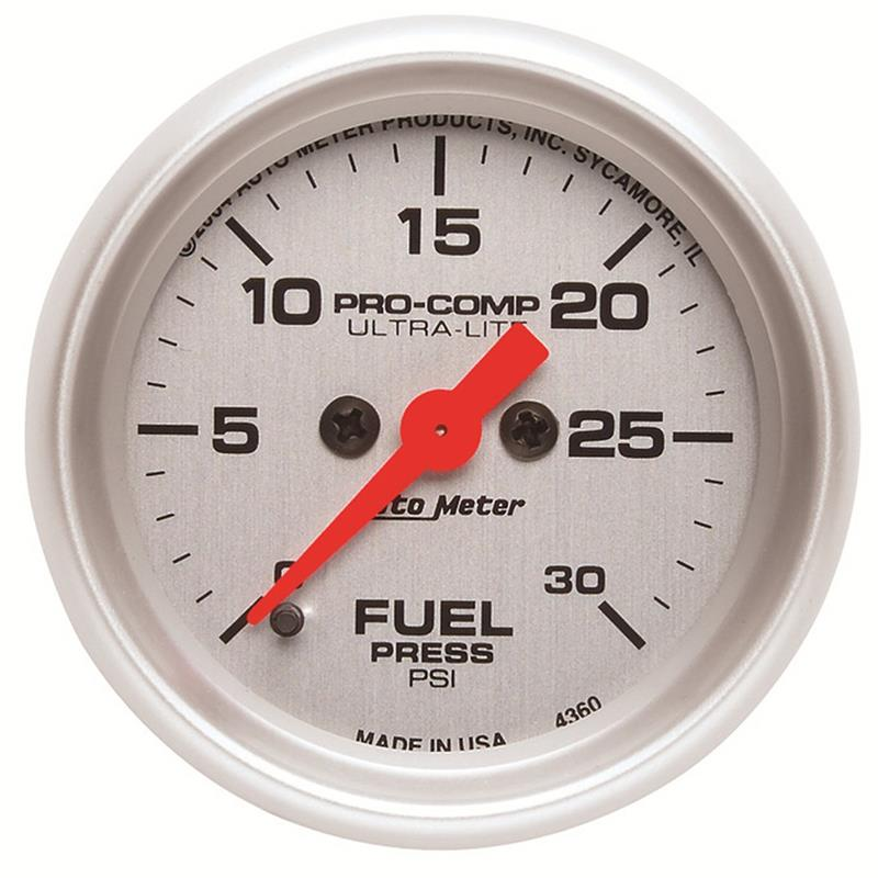 Autometer 4368 Ultra Lite Electric Water Pressure Gauge: Auto Meter 4360 Ultra-Lite Fuel Pressure Gauge