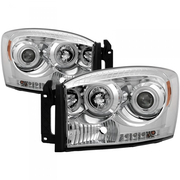 Spyder 5030078 Chrome Projector Headlights w/ CCFL Halo