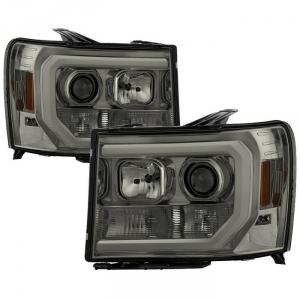 Spyder 5083654 Smoked Version 2 Projector Headlights W/ Light Bar DRL