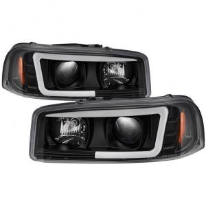Spyder 5084521 Black Version 2 Projector Headlights W/ Light Bar DRL