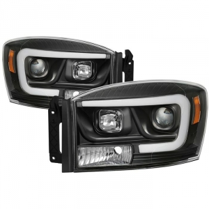 Spyder 5085306 Black Version 2 Projector Headlights W/ Light Bar DRL