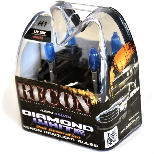 Recon H1 4,600 KELVIN XENON Headlight Bulbs in Diamond White # 264H1DW